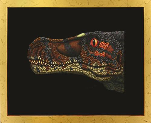 Dinosaur Velociraptor Kids Room Animal Wall Decor Golden Framed Art Print Poster (18x24)