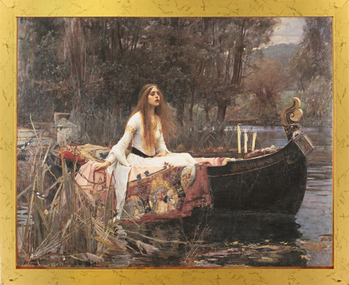 The Lady Of Shalott John Waterhouse Boat Picture Golden Framed Art Print Poster (18x24)