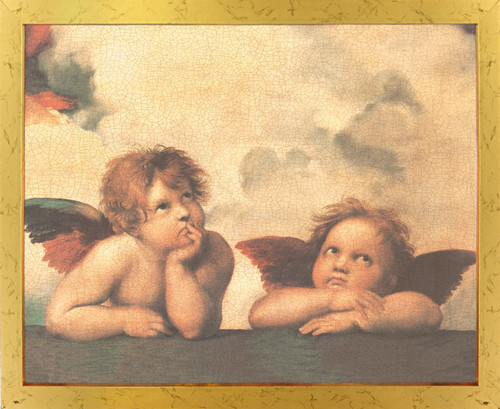 Sistine Madonna Cherubini Two Little Angels By Raphael Picture Golden Framed Art Print Poster (18x24)