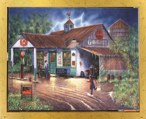 Vintage Gas Station Country Store Painting Wall Decor Golden Framed Art Print Poster (18x24)