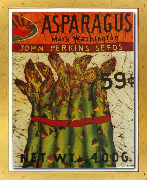 Vintage Arthur Kaplan Lithograph Asparagus Mary Washington John Perkins Seeds Wall Decor Golden Framed Art Print Poster (18x24)