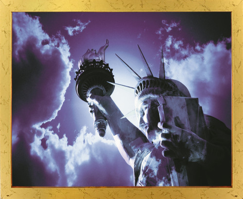 Freedom with Liberty and Justice for All Inspirational Golden Framed Wall Decor Art Print Poster (18x24)
