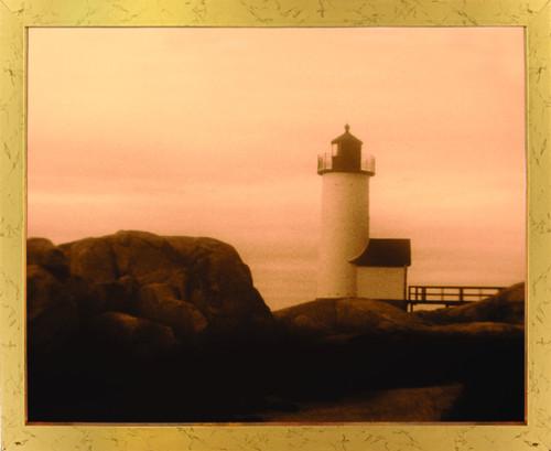 Misty Morning New England Lighthouse Landscape Golden Framed Wall Decor Art Print Poster (18x24)