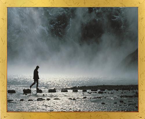 Challenge the Journey of a Thousand Miles Motivational Wall Decor Golden Framed Art Print Poster (18x24)