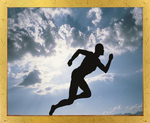 Running Athlete Motivational Ambition Wall Decor Golden Framed Art Print Poster (18x24)