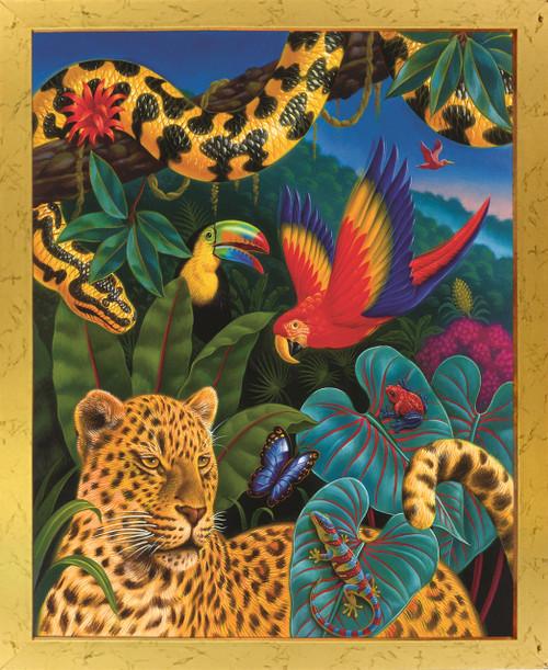 Jungle Animals Tiger, Parrot, Lizard, Snake and Butterfly Wildlife Kids Room Golden Framed Wall Decor Art Print Poster (18x24)