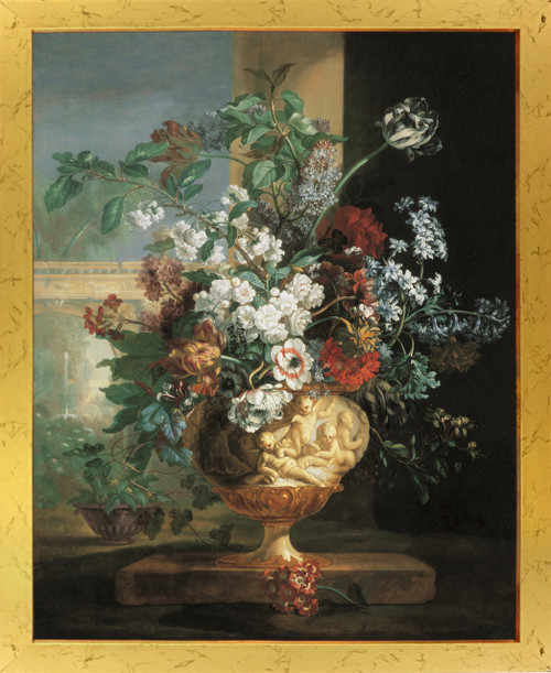 Bunch Of colorful Flowers in Cherubs Vase Floral Picture Golden Framed Wall Decor Art Print Poster (18x24)