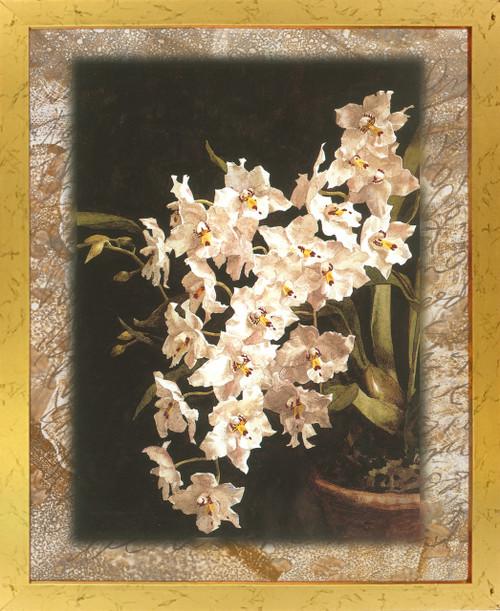 White Orchid Flowers In Vase Floral Golden Framed Wall Decor Art Print Poster (18x24)