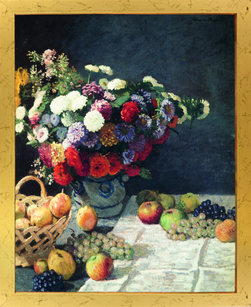 Bouquet of Colorful Flowers with Fruits Wall Decor Golden Framed Art Print Poster (18x24)