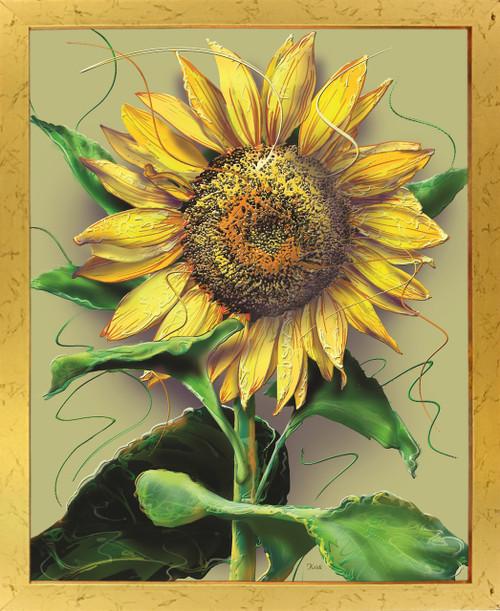 Sunflower Flower Floral Wall Decor Golden Framed Art Print Poster (18x24)