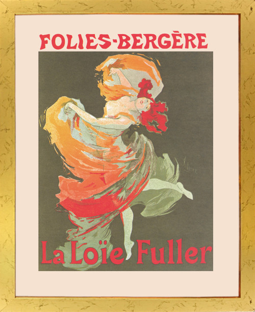 Fashion Girl Dance Dancing La Loie Fuller Folies Bergere Vintage Golden Framed Wall Decor Art Print Poster (18x24)