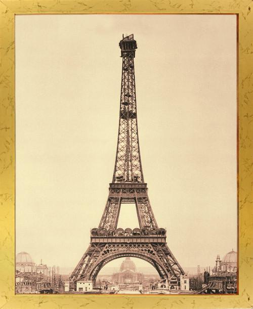 Vintage Paris Eiffel Tower Wall Decor Art Print Golden Framed Poster (18x24)
