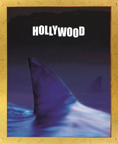 Ocean Whale with Hollywood Sign Picture Golden Framed Wall Decor Art print Poster (18x24)