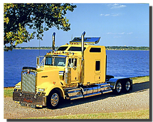 Yellow Kenworth Semi Big Rig Truck Poster