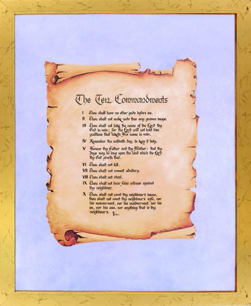 Ten Commandments Catholic Christian Religious Quote Wall Decor Golden Framed Art Print Poster (18x24)