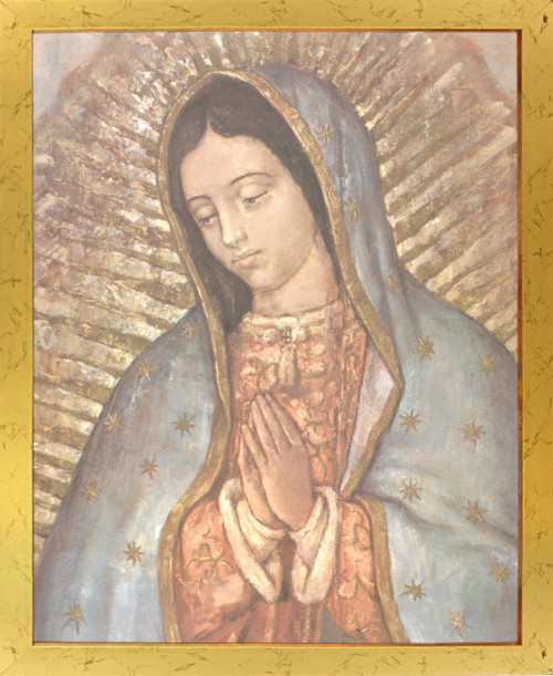 Our Lady Of Guadalupe Mexico Virgin Mary Religious Wall Decor Golden Framed Art Print Poster (18x24)