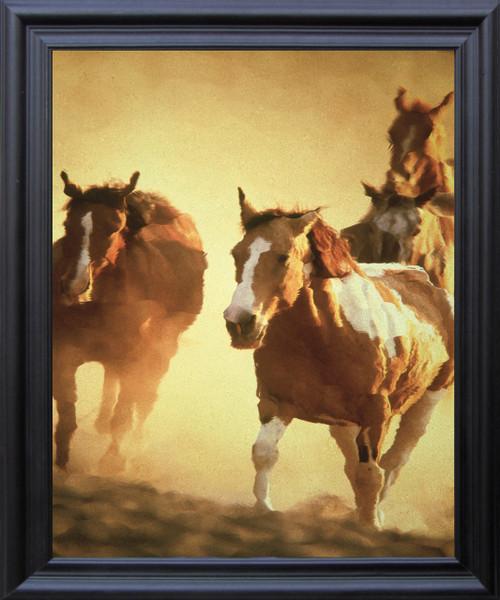 Horses Running In Group Wild Animal Wall Décor Black Frame Black Framed Art Print Poster (19x23)
