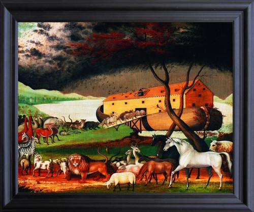 Noah's Ark By Edward Hicks Kids Room Wall Décor Black Framed Art Print Poster (19x23)
