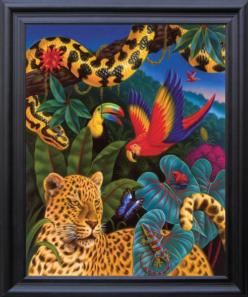 Jungle Animals Tiger, Parrot, Lizard, Snake and Butterfly Wildlife Kids Room Wall Décor Black Framed Art Print Poster (19x23)