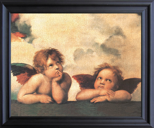Sistine Madonna Cherubini Two Little Angels By Raphael Picture Black Framed Art Print Poster (19x23)