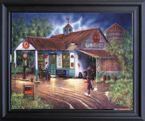Vintage Gas Station Country Store Painting Wall Décor Black Framed Art Print Poster (19x23)