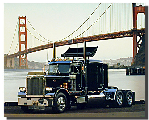 Peterbilt Semi Golden Gate Bridge Big Rig Poster