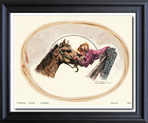 Western Cowgirl Unconditional Love By Virgil Stephens Wall Decor  Black Framed Art Print Poster (19x23)