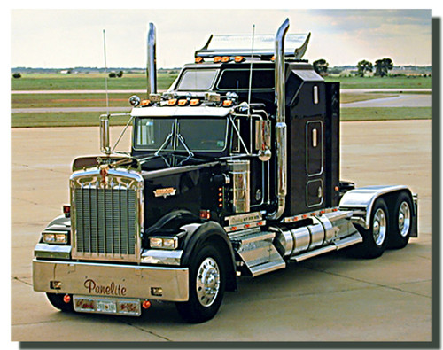 Black Kenworth Big Rig Truck Poster