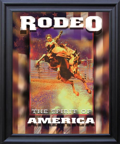 "Western Cowboy Rodeo ""The Spirit of America"" Riding Horse Wall Decor  Black Framed Art Print Poster (19x23)"