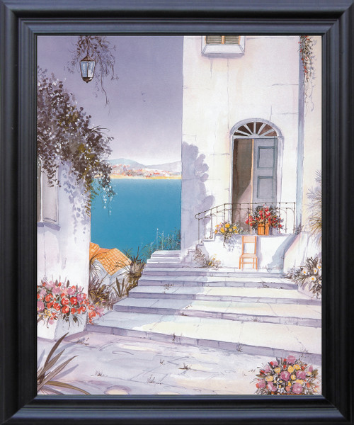Mediterranean Views Seascape Picture Wall Décor Black Framed Art Print Poster (19x23)