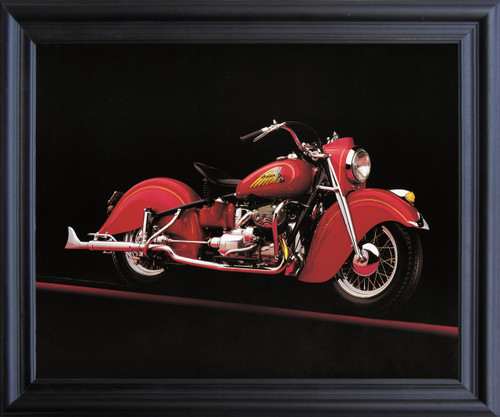 Vintage Red Indian Motorcycle Road master Wall Decor  Black Framed Art Print Poster (19x23)