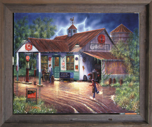 Vintage Gas Station Country Store Painting Wall Décor Barnwood Framed Art Print Poster (19x23)