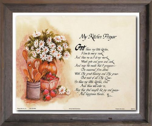 My Kitchen Prayer Wall Décor Barnwood Framed Art Print Poster (19x23)