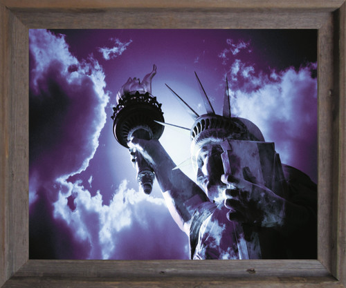 Freedom with Liberty and Justice for All Inspirational  Barnwood Framed Art Print Poster (19x23)