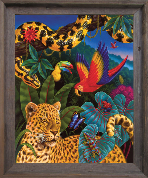 Jungle Animals Tiger, Parrot, Lizard, Snake and Butterfly Wildlife Kids Room Wall Décor Barnwood Framed Art Print Poster (19x23)