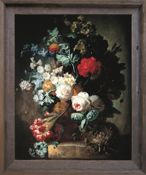 Pitcher Of Colorful Flowers Floral Still life Wall Décor Barnwood Framed  Art Print Poster  (19x23)