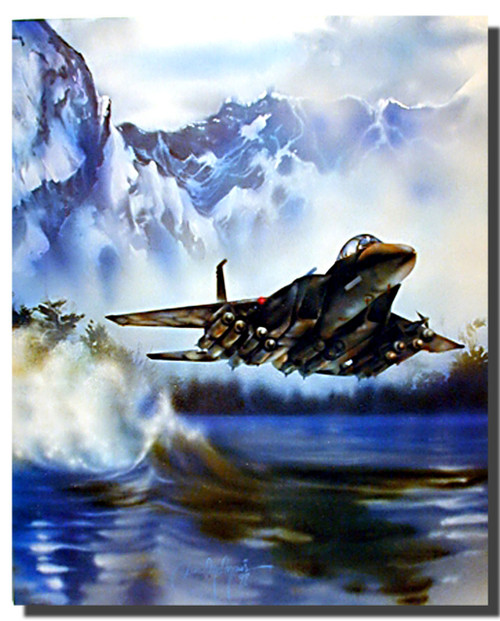 F-15 Over Water Poster