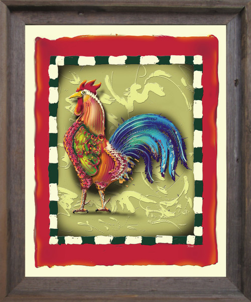 Colorful Chicken Rooster 2 Still Life Animal Wall Décor Barnwood Framed Art Print Poster (19x23)