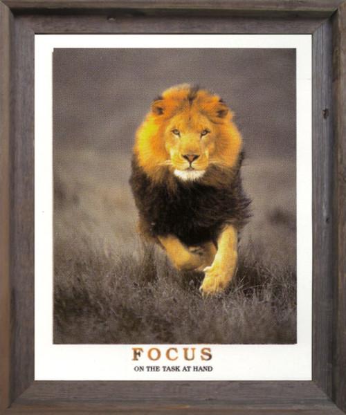 Running Lion Focus On The Task At Hand Wildlife Inspirational Animal  Barnwood Framed Art Print Poster (19x23)
