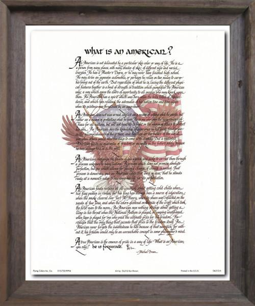 """What Is an American"" Motivational & Inspirational Wall Décor Barnwood Framed Art Print Poster (19x23)"