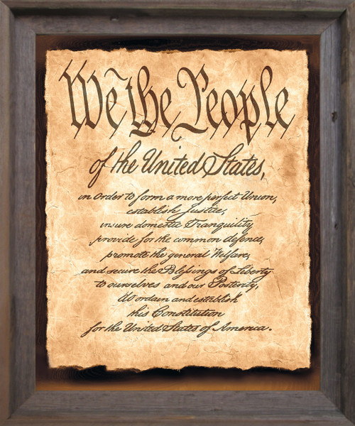 """Constitution of the United States """"We the People of the United States"""" Wall Décor Barnwood Framed Art Print Poster (19x23)"""