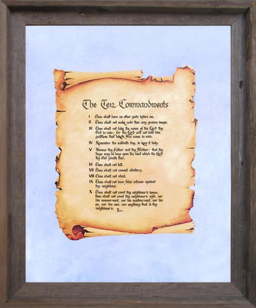 Ten Commandments Catholic Christian Religious Quote Wall Décor Barnwood Framed Art Print Poster (19x23)