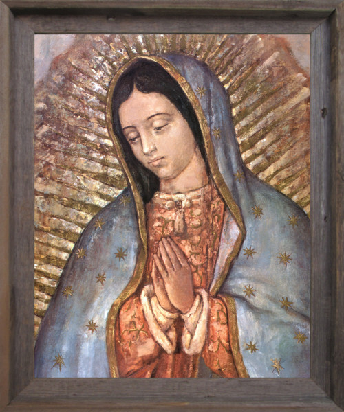 Our Lady Of Guadalupe Mexico Virgin Mary Religious Barnwood Framed Art Print Poster (19x23)