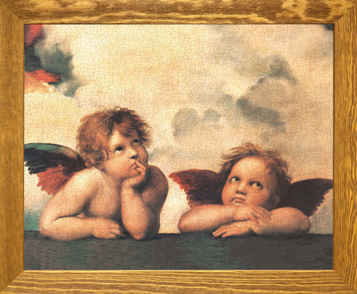 Sistine Madonna Cherubini Two Little Angels By Raphael Brown Rust Framed Art Print Poster (19x23)