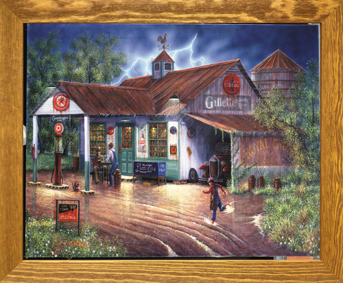 Vintage Gas Station Country Store Painting Wall Décor Brown Rust Framed Art Print Poster (19x23)