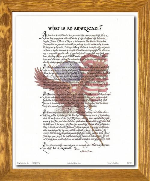"""What Is an American"" Motivational & Inspirational Wall Décor Brown Rust Framed Art Print Poster (19x23)"