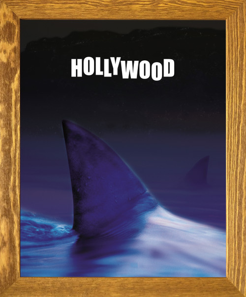 Ocean Whale with Hollywood Sign Picture Brown Rust Framed Art print Poster (19x23)