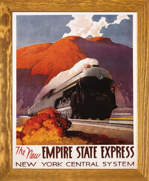 Vintage Mountain Express Train Wall Décor Brown Rust Framed Art Print Poster (19x23)