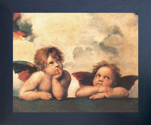 Sistine Madonna Cherubini Two Little Angels By Raphael Espresso Framed Art Print Poster (18x24)