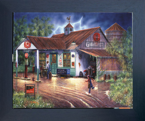 Vintage Gas Station Country Store Painting Wall Décor Espresso Framed Art Print Poster (18x24)